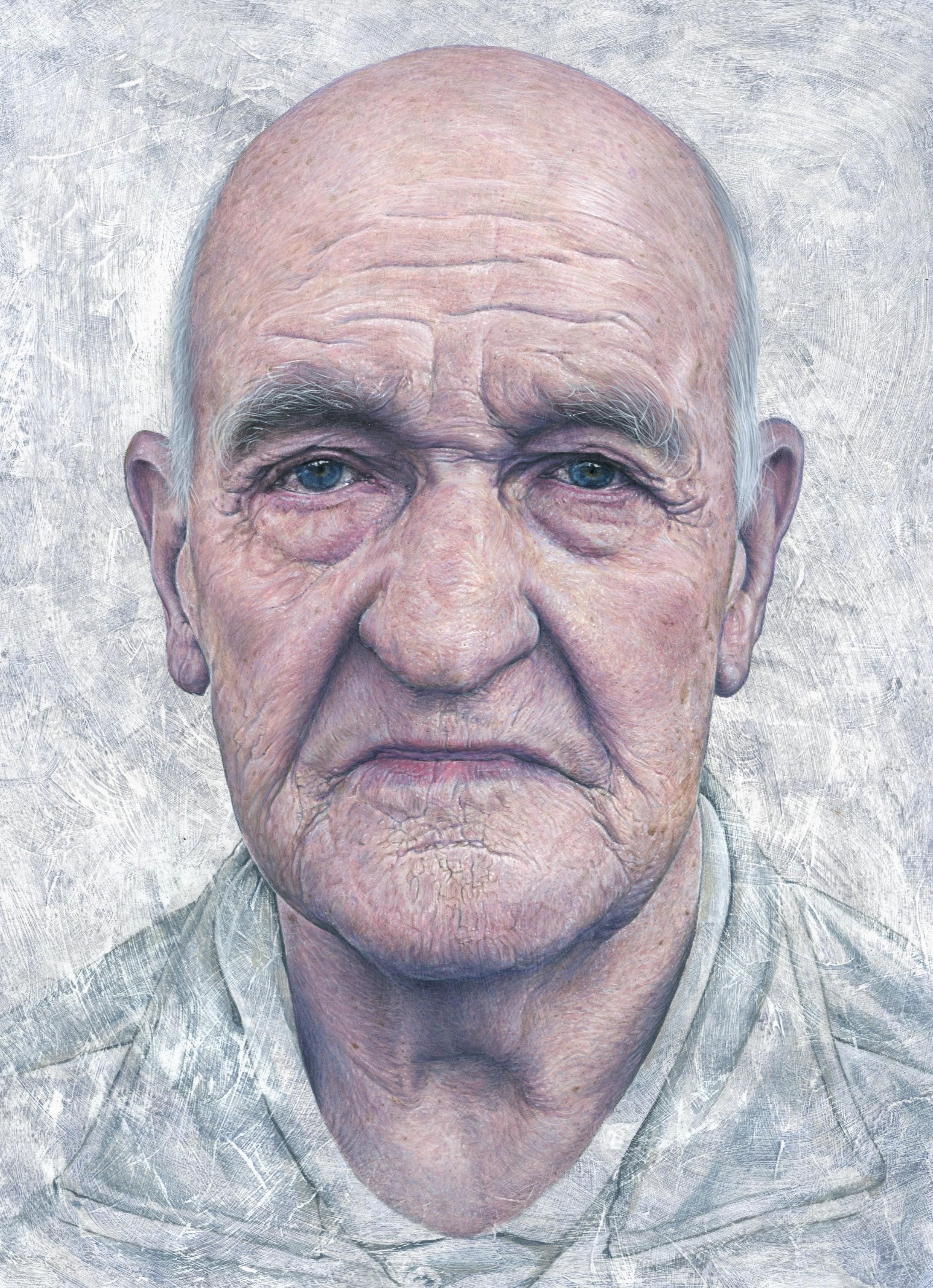 Steve Caldwelll, Bryne at 85, acrylic on wood panel., 30 x 24 cm,  http://www.steve-caldwell.co.uk