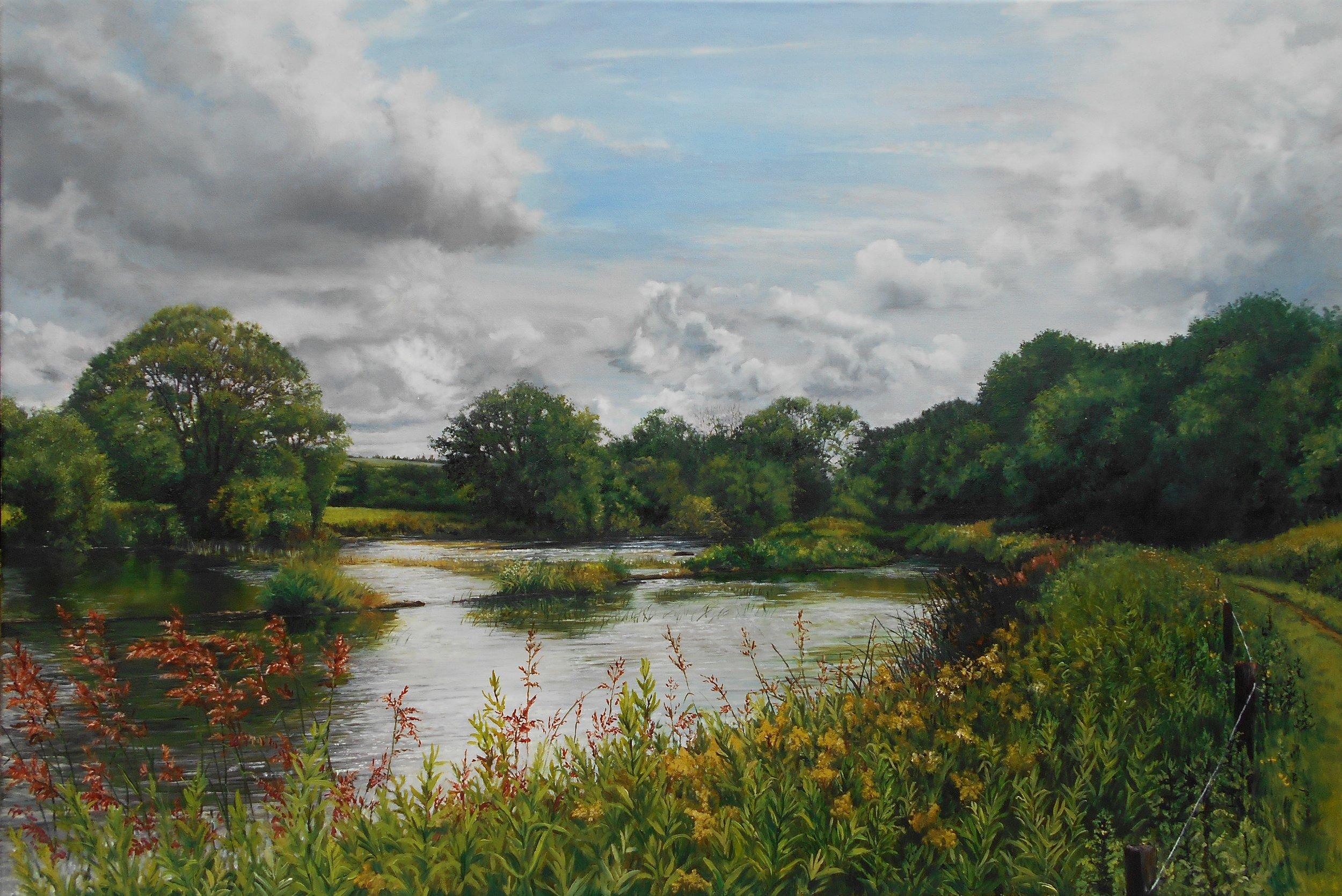 Sarah Corner, the weir on the river Suir, Oil on linen canvas, 50x76x2,  http://www.sarahcorner.com