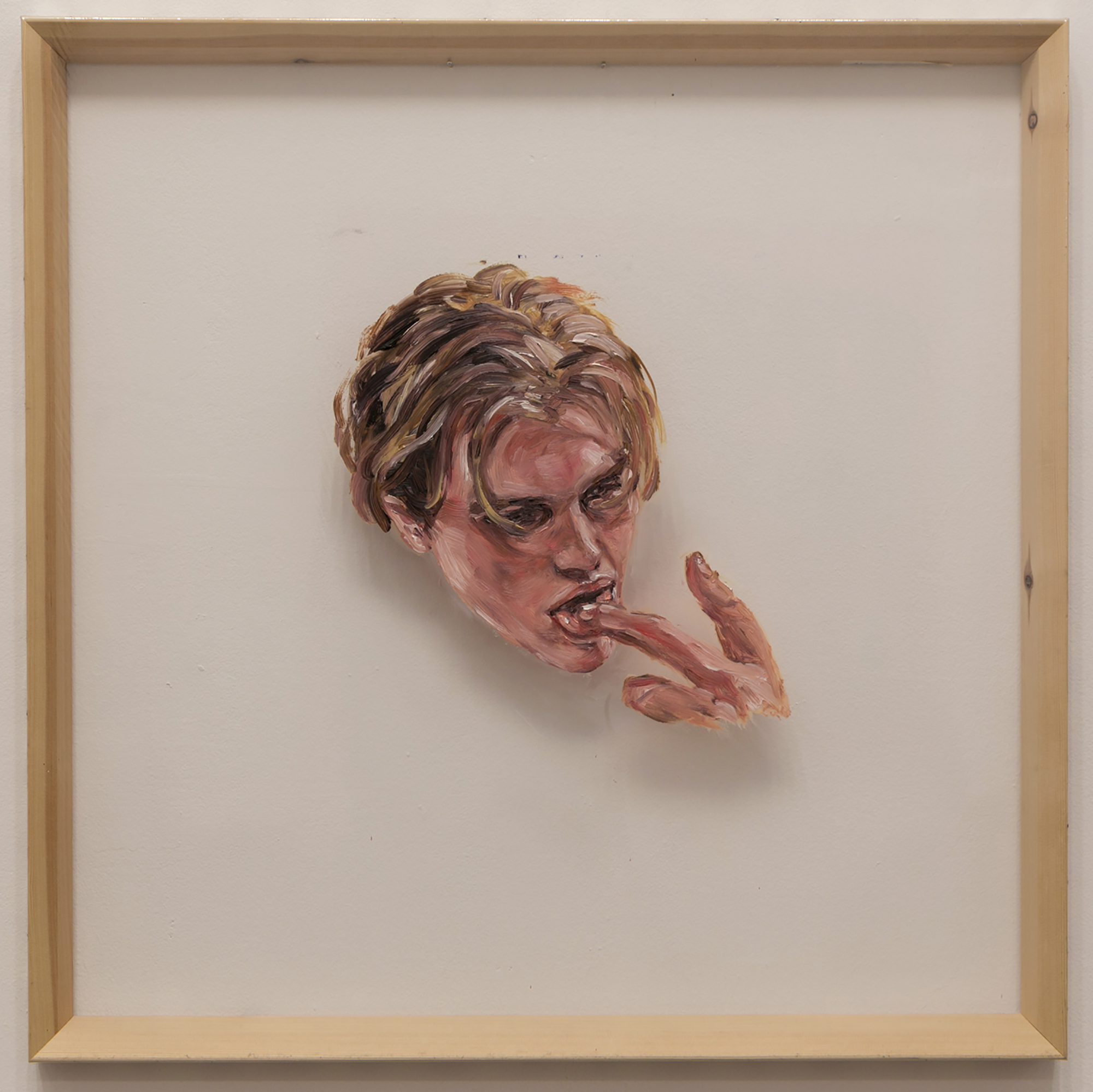 Catherine Trowbridge, I tried to explain licking the honey, Oil on vinyl, with printed photographs cut-out and pasted on sides of wooden stretcher bars, 75 x 75 x 4,  http://www.kit-trowbridge.com