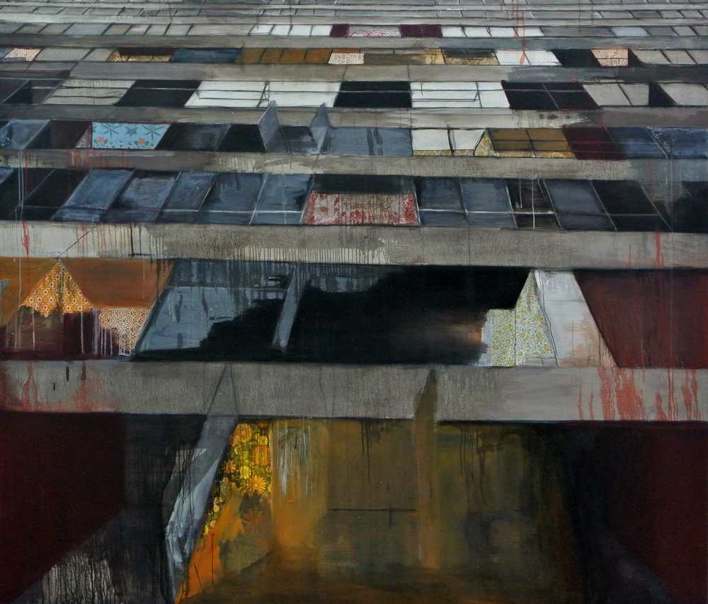 Teresa Ward, Slanted Grenfell, Oil paint and printed paper on canvas, 6 foot x 7 foot- 2 inch depth