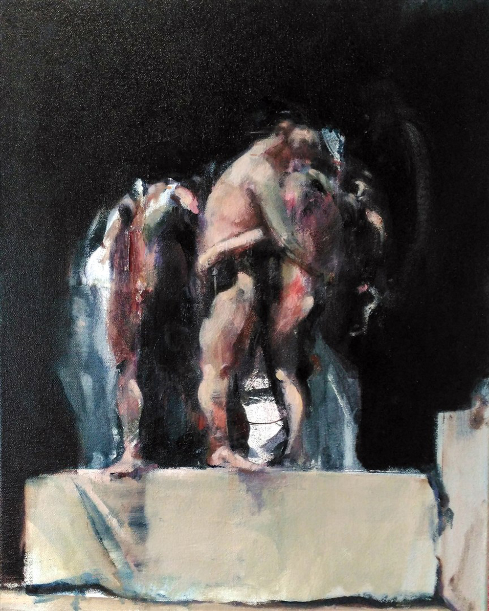 Sarah Shaw, The Waiting, Oil on linen, 50 x 45 x 2 cm,  http://www.sarahshaw.co.uk