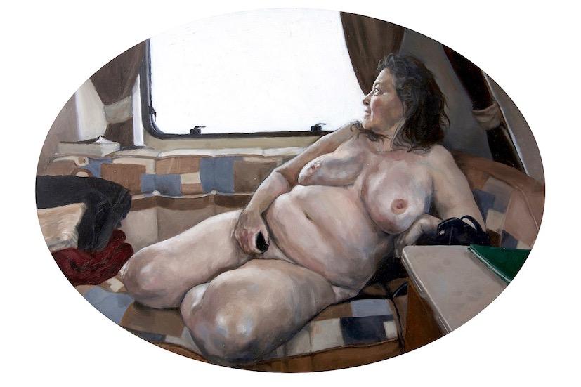 Alicia France, Nude in Caravan, Oil on Aluminium, 40 cm x 32 cm x 0.3 cm