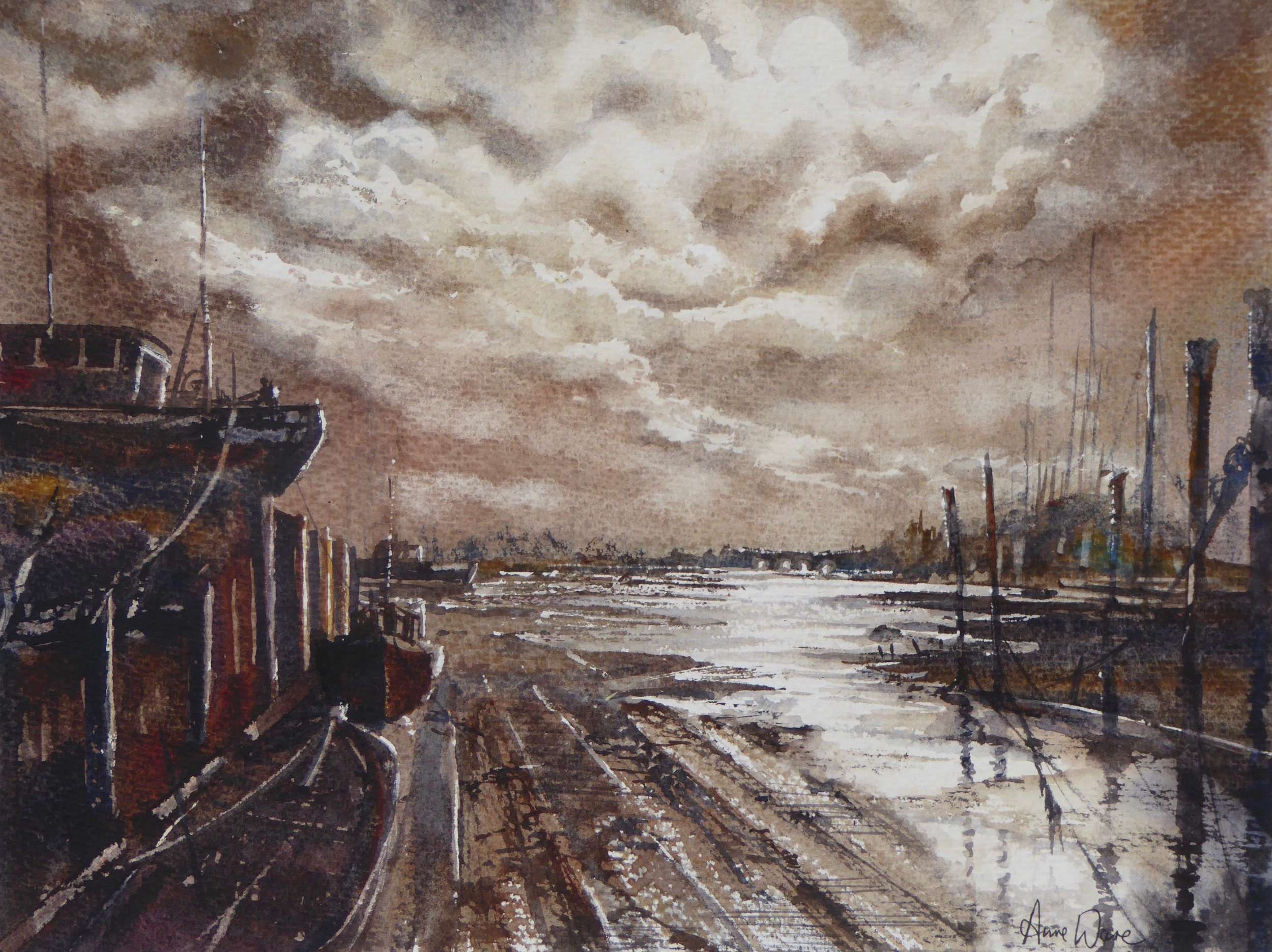 Watercolour Prize Winner (£200 Jackson's Art Gift Voucher): 'Estuary Light' by Anne Ware.  Read more about the artwork.