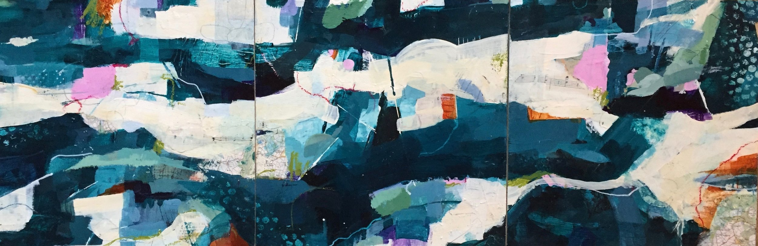 Mixed Media Prize Winner (£200 Jackson's Art Gift Voucher): 'A River Runs Through' by Louise Fletcher.  Read more about the artwork.