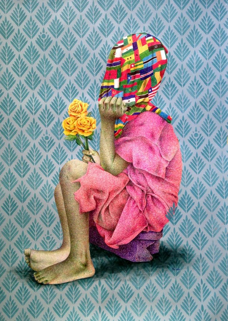Aziseh Emmanuel Chefor , '3 Roses Jaunes', Ballpen & Acrylic Paper, 70 x 100 cm
