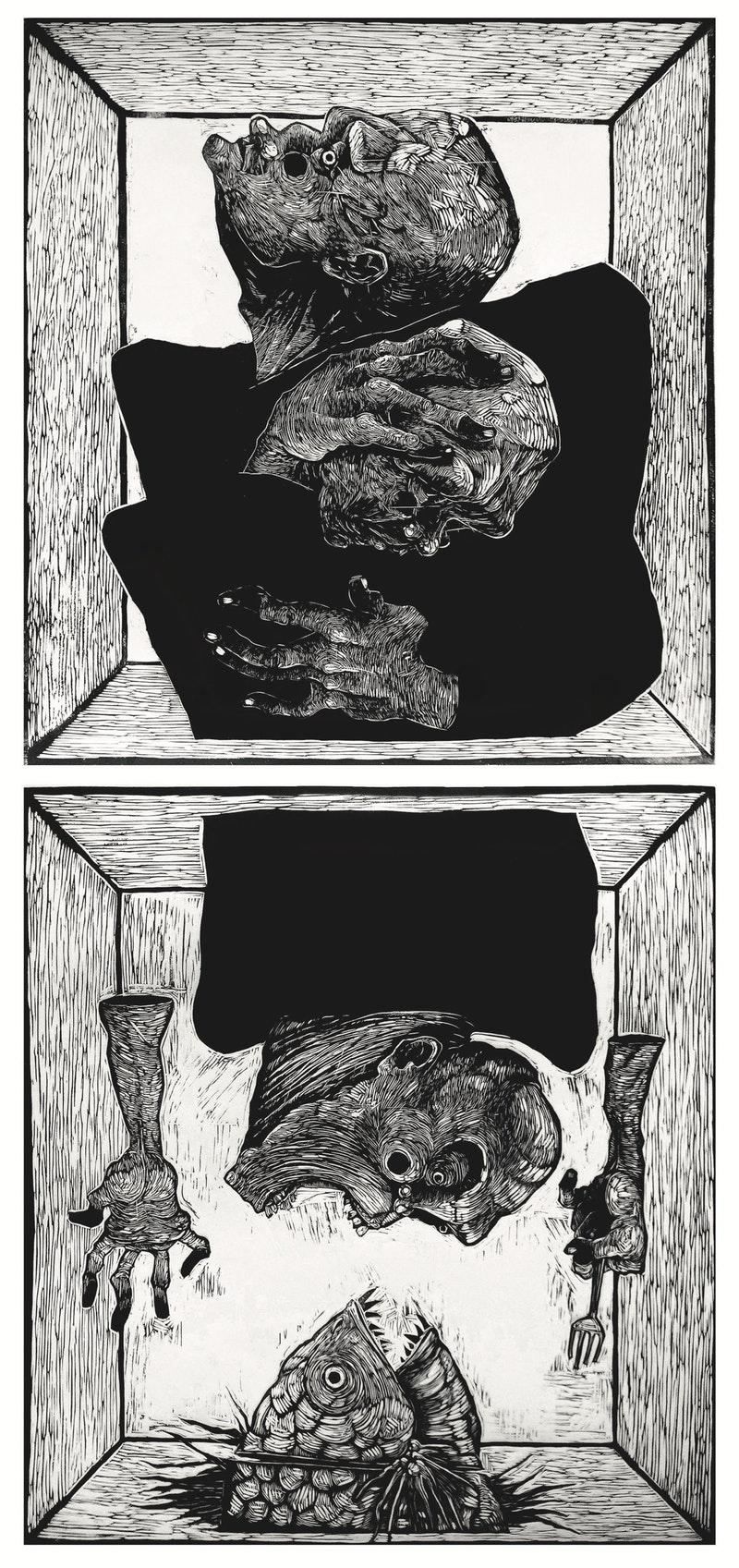 Rizal Pramana , 'Embrace#6 (Imminent Danger)', Linocut on Paper, 58 x 60 cm