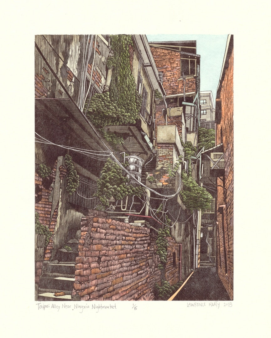 Laurence Keaty , 'Taipei Alley Near NingXia Nightmarket', Wood Engraving & Watercolour, 20 x 15 cm