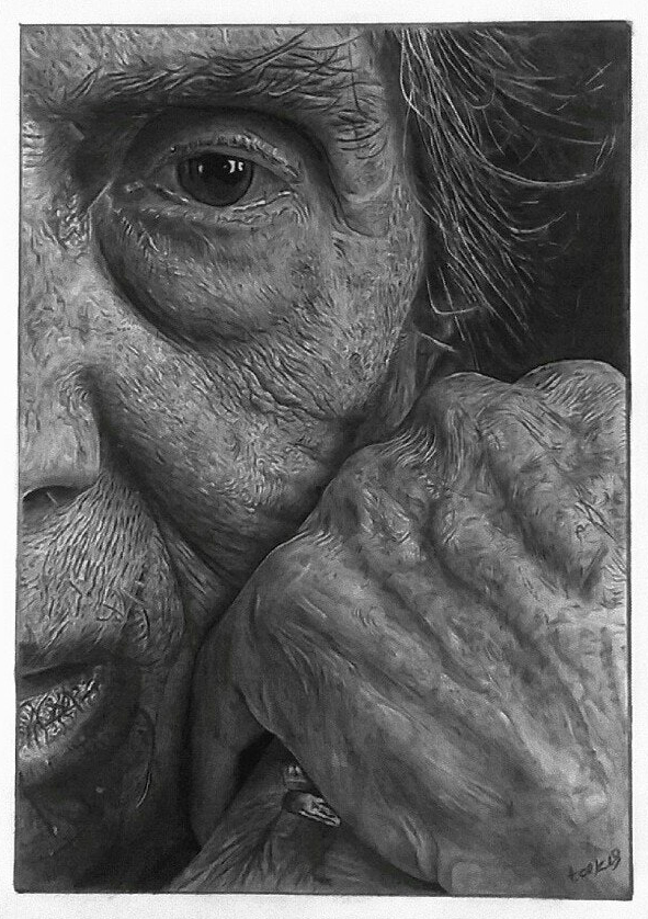 Takis Tsekouras , 'Old Woman', Pencil & Charcoal on Paper, 37 x 27.5 cm
