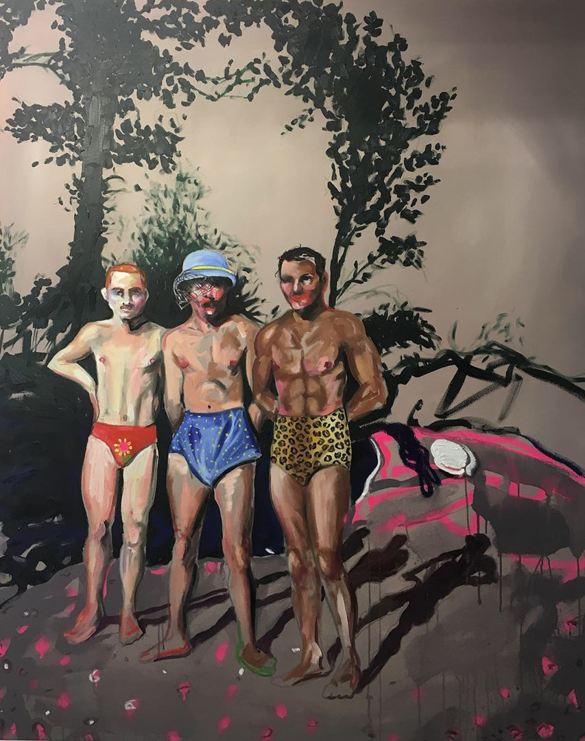 Adam Baker   Summer ready  Oil Paint, oil sticks and spray paint on canvas, 150 x 120 x 4 cm  https://www.adambakerart.co.uk