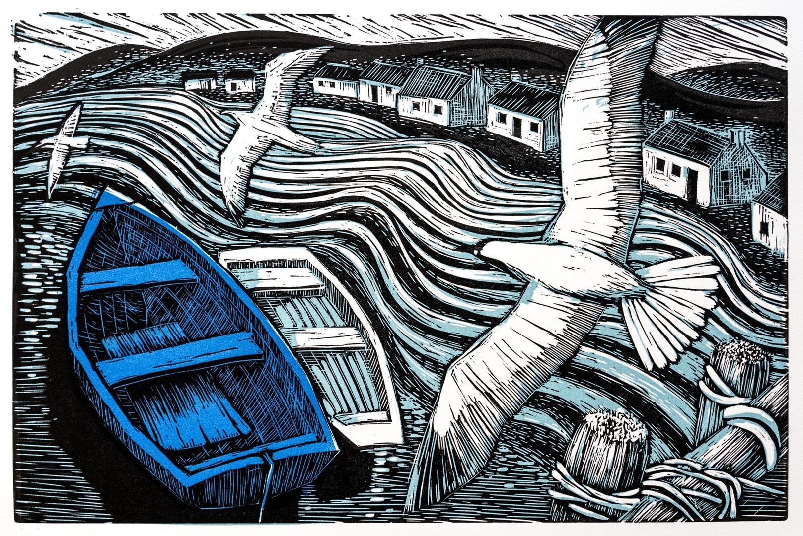 Aga Karmol  Blue Boat  Linocut (3 plates) printed on paper, 20 x 30 cm  http://www.agakarmol.net