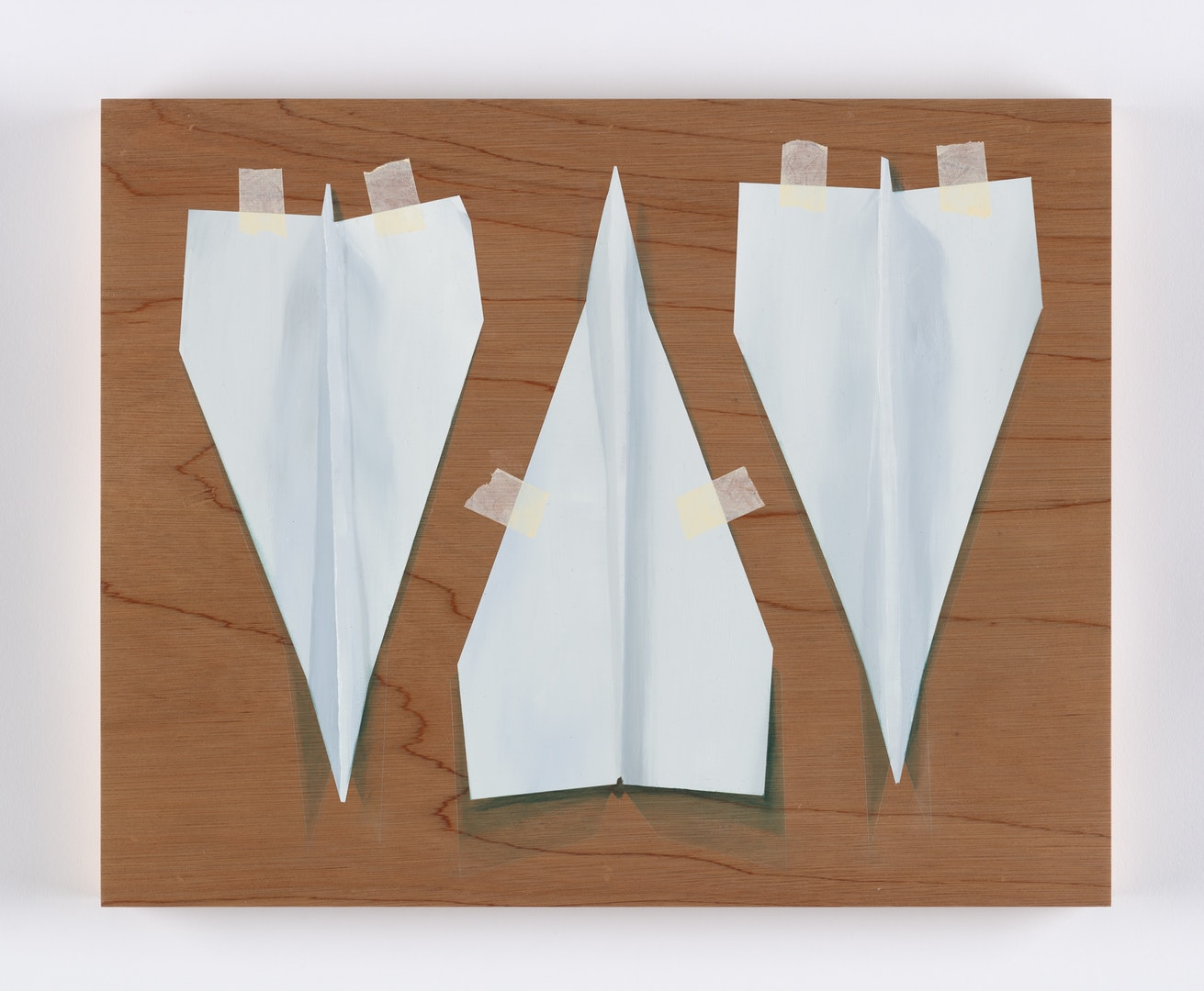 Alastair Gordon  Three Paper Darts  Oil on marine ply, 40 x 50 cm  http://www.alastairjohngordon.com