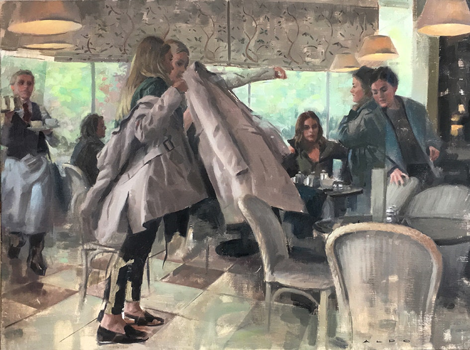 Aldo Balding  The fabric of spacetime in a tea room  Oil, 60 x 89 cm  http://www.aldobalding.com