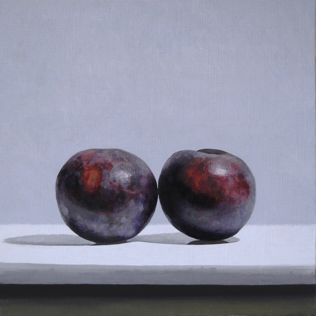 Andrew Thompson  Plums  Oil on Aluminium, 25 x 25 cm