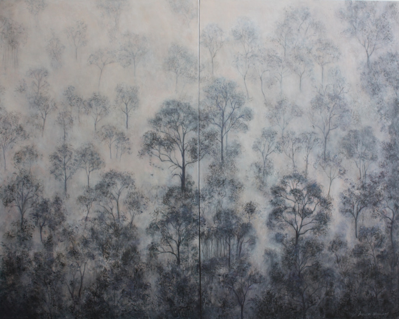 Arlene Williams  Cathedral Forest (Diptych)  Acrylic, 122 x 152 x 2 cm  https://arlenewilliams.myportfolio.com/