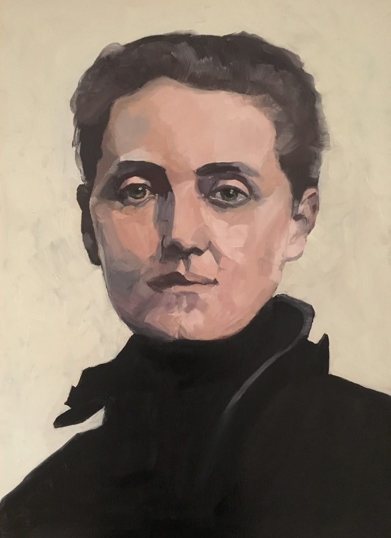Barbara Henkes  Jane Addams  Oil on canvasboard, 70 x 50 cm  https://www.instagram.com/basha_in_pastel/