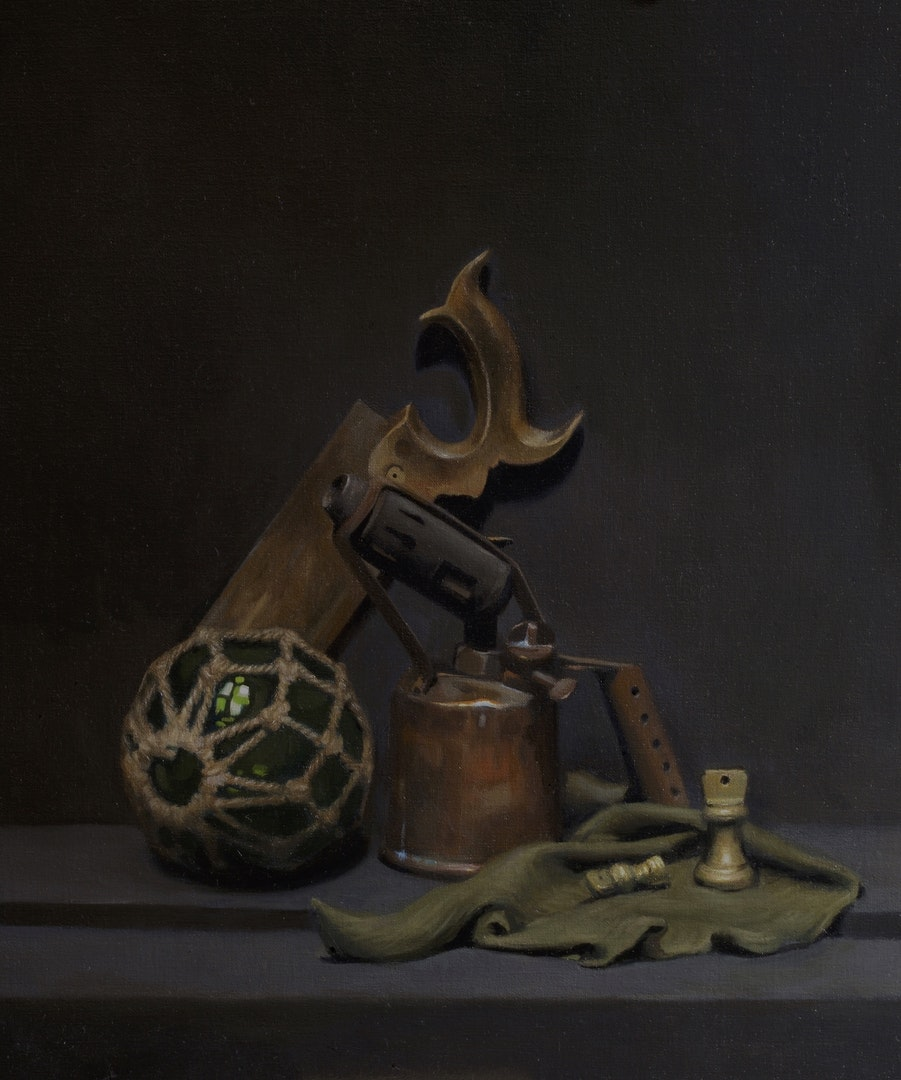 Ben Laughton Smith  Composition with blowtorch  Oil on linen, 70 x 60 x 4 cm