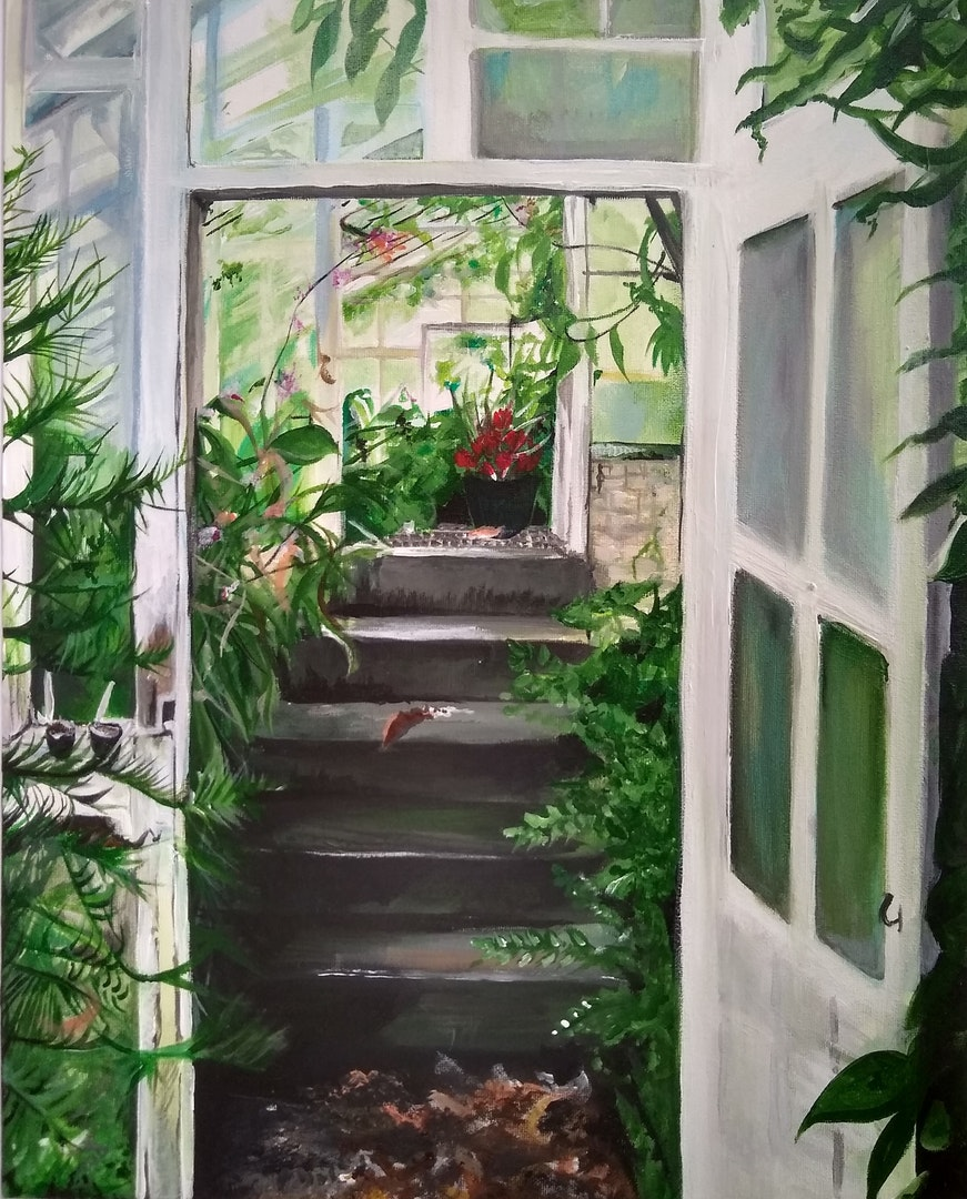 Caitlin Noble  The Greenhouse  Acrylic on canvas; Oils on canvas board, 50 x 40 cm