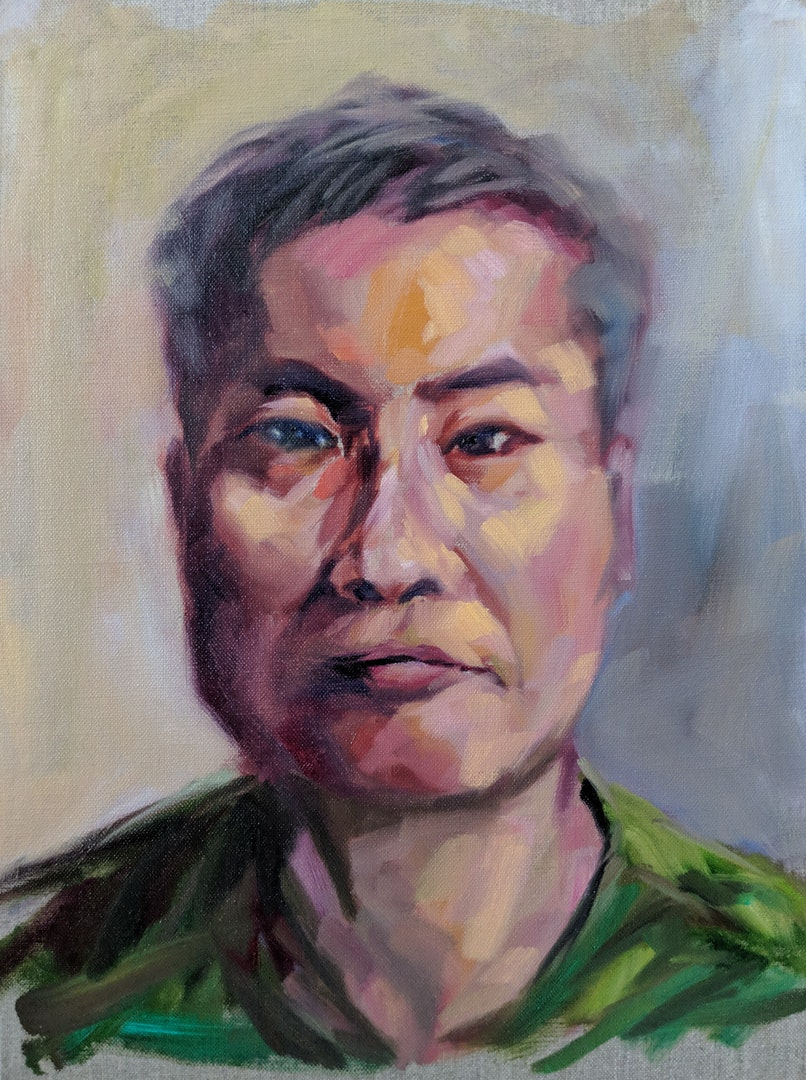Calvin So  Self Portrait  Oil on canvas panel, 40 x 30 cm