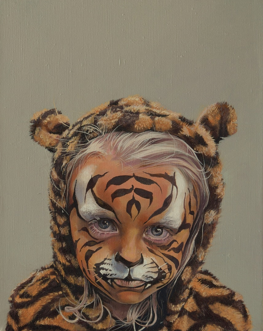Catherine MacDiarmid  Behind the Tiger Paint  Oil on canvas, 25 x 20 x 4 cm  http://catherinemacdiarmid.co.uk