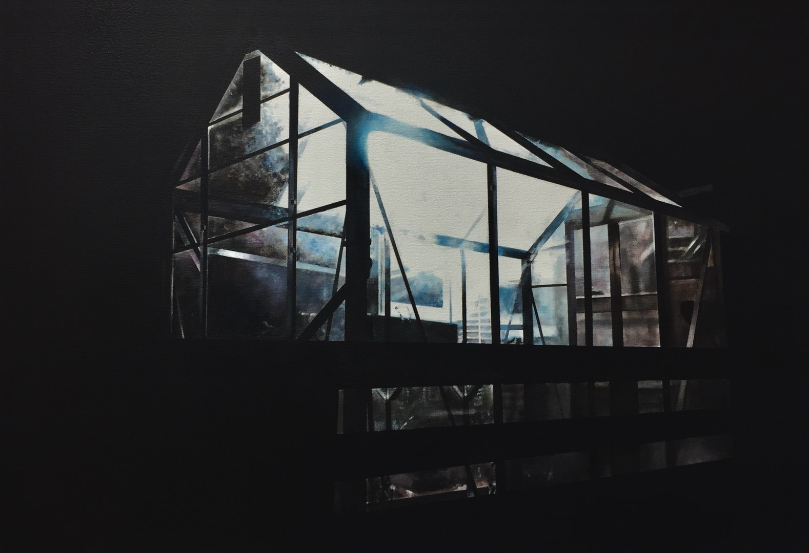 Christopher Campbell  Glass house  Oil on canvas, 45 x 65 x 3 cm  http://www.campbellpainter.co.uk