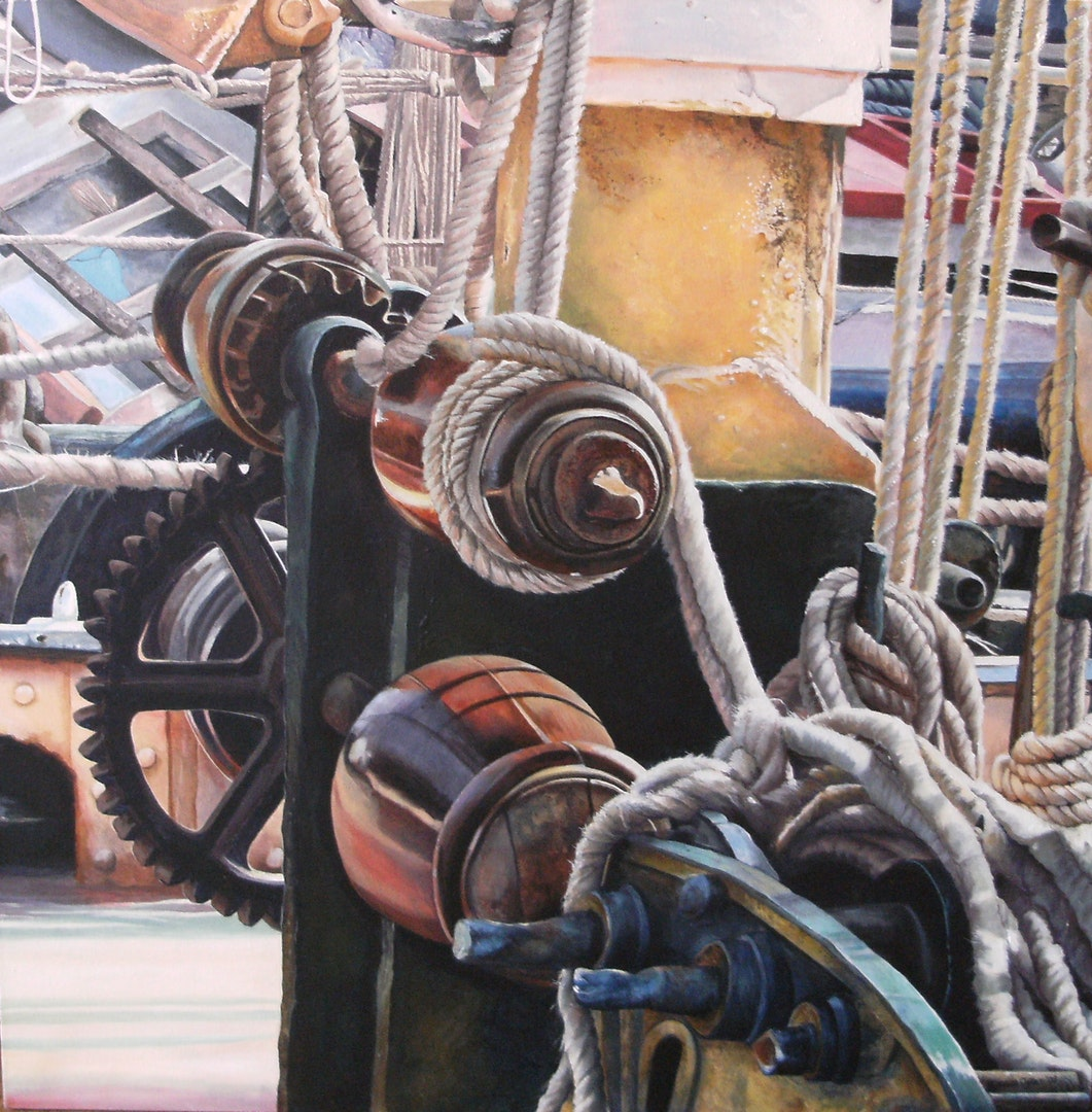 Denise Cliffen  Thames Barge Reminder  Acrylic on Canvas, 61 x 61 x 2 cm