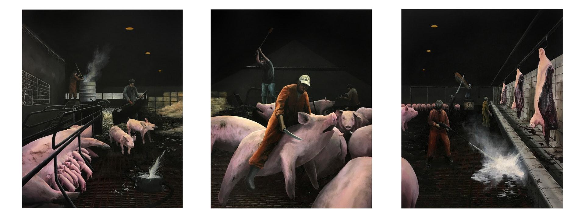 Esmond Loh  Pig Farm  Acrylic on Canvas, 152 x 366 x 2 cm