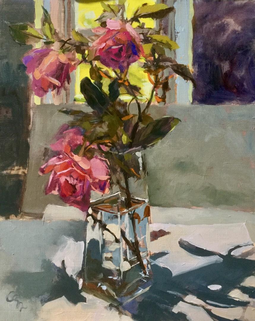 Hilary Carr  November roses  Oil on board, 30 x 24 x 0.5 cm  http://www.hilarycarr.co.uk