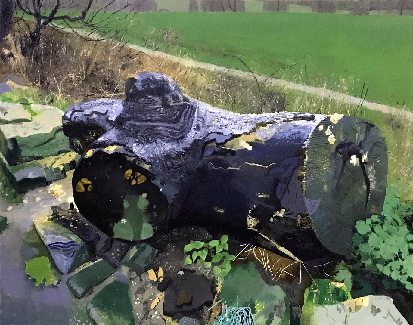 Iain Nicholls  Bad Bird On A Black Log  Oil on canvas, 122 x 152 x 3 cm  http://www.iain-nicholls.com