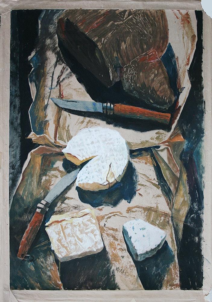 Irina Bogdanova  Still-life with knives  Gouache on paper, 98 x 67 cm  https://irinabogdanova.wixsite.com/-art