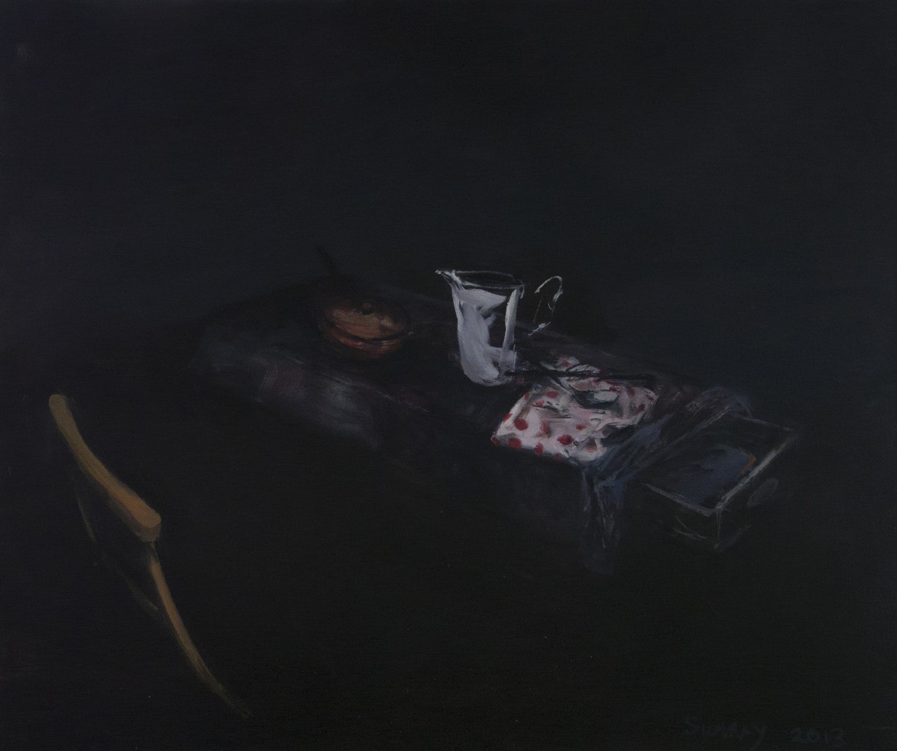Jason Sumray  Jug with Serviette & Open Drawer I  Oil on canvas, 105 x 122 x 2 cm  http://www.jasonsumray.com