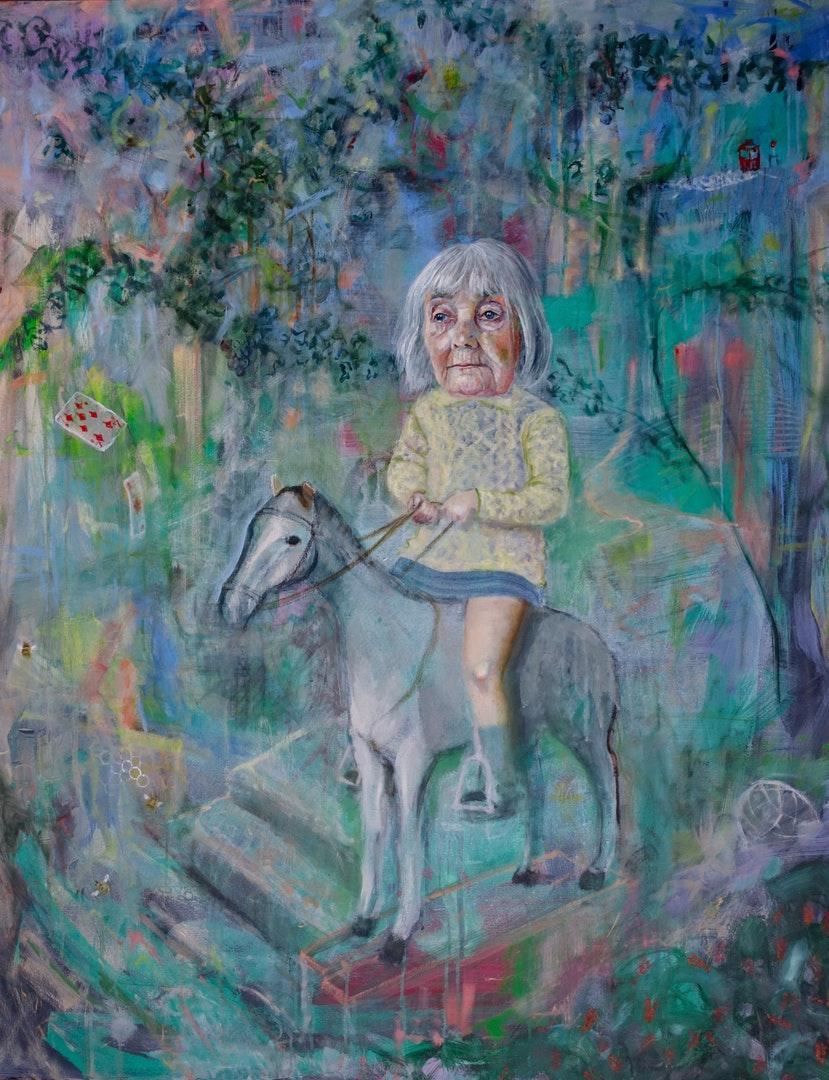 Jennifer Nieuwland  The Stone Horse  Oil and pastel on canvas, 100 x 80 x 4 cm  http://jennifernieuwland.com