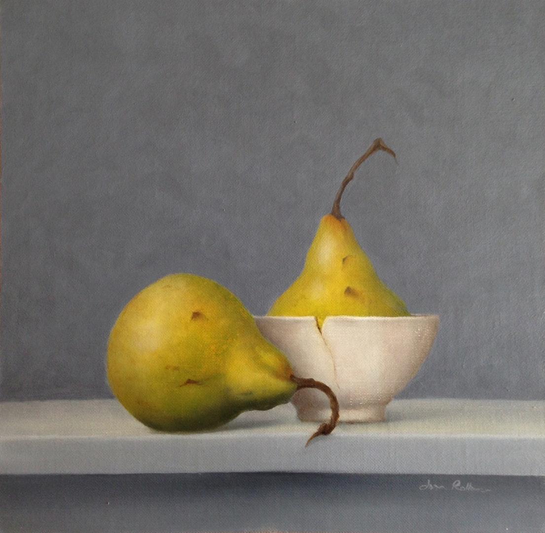 Joan Rollason  Still Life with Pears  Oil on linen board, 24 x 24 x 3 cm
