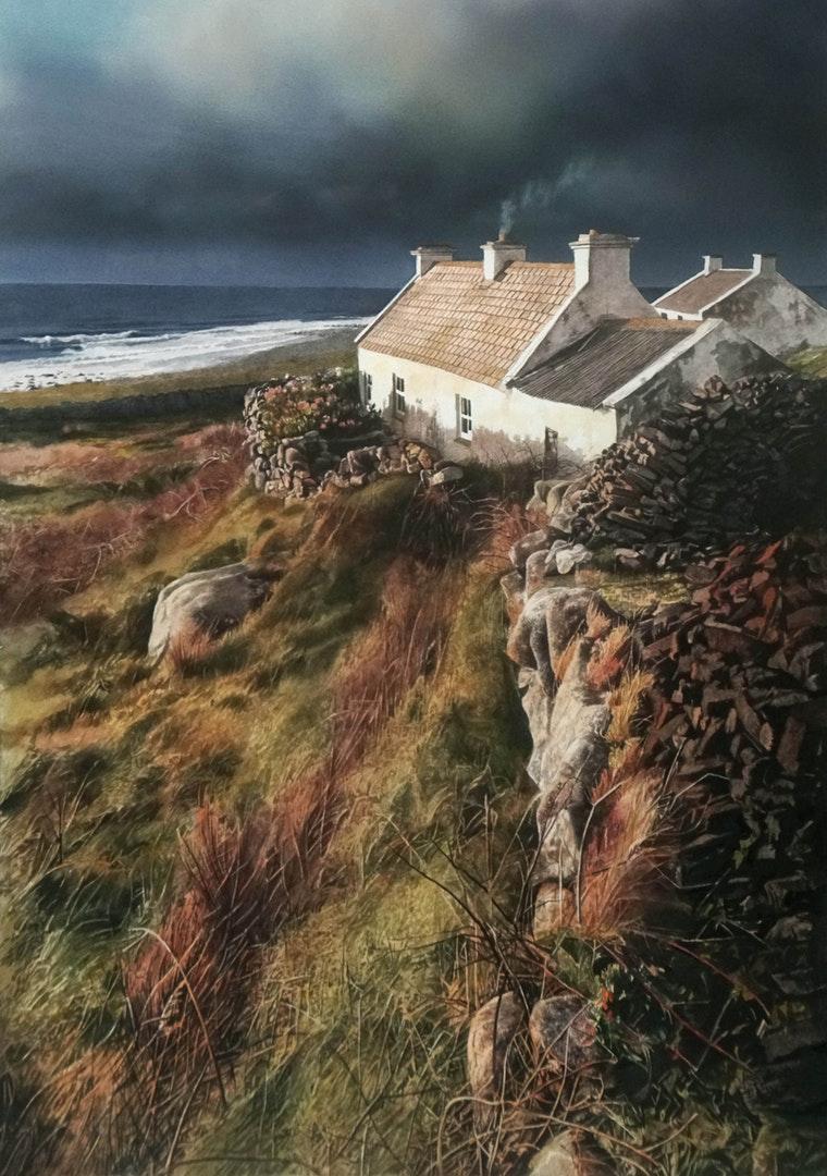 John Cooney  Winter Turf, Donegal  Watercolour, 71 x 49 cm  http://www.johncooneyartist.com