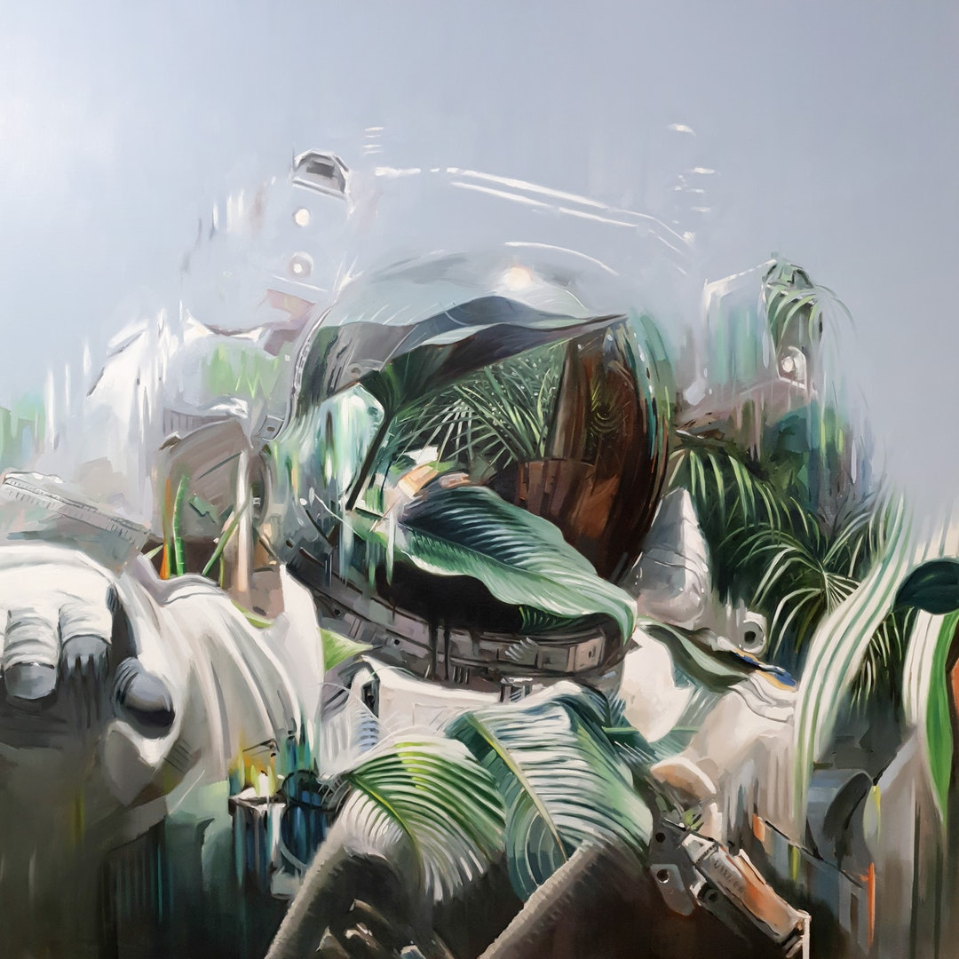 "Johnny Morant  ""The future will be green, or not at all""  Oil on canvas, 130 x 130 x 5 cm  http://www.johnnymorant.com"