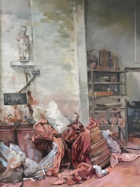 Julia Page  studio interior  Oil on hardboard, 140 x 45 cm