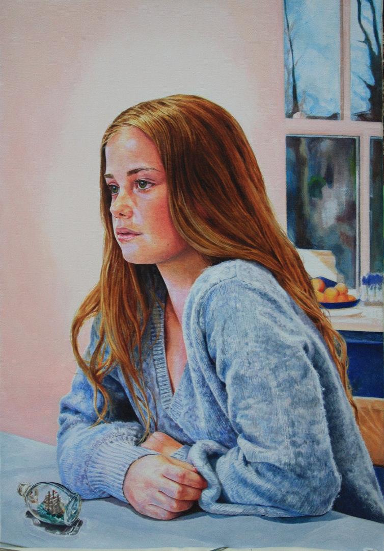 Kaye Hodges  Freya  Acrylic on canvas, 54 x 36 x 3 cm  http://www.kayehodgesportraits.com