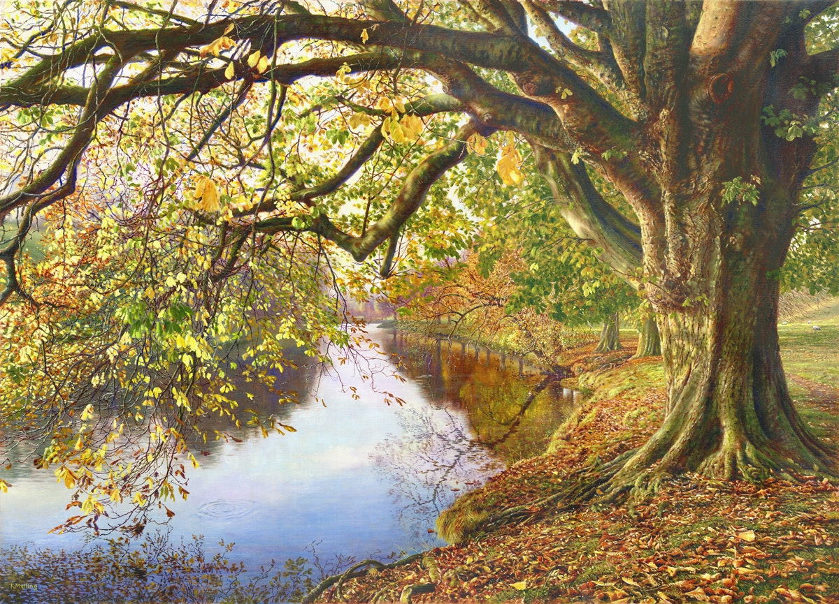 Keith Melling  Autumn, River Wharfe, Yorkshire Dales  Oil on canvas, 67 x 92 x 2.5 cm  http://www.kmelling.com