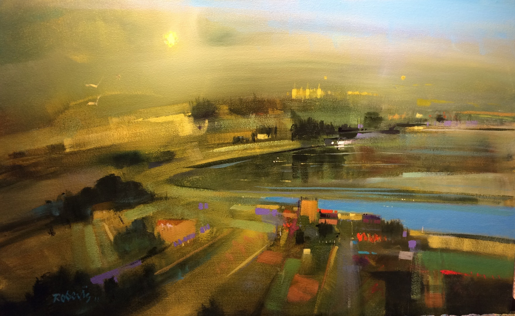 Ken Roberts  Mist Over Tigh Mor, Loch Achray, Trossachs  Acrylics on canvas, 46 x 75 x 2 cm  http://www.artbykenroberts.com