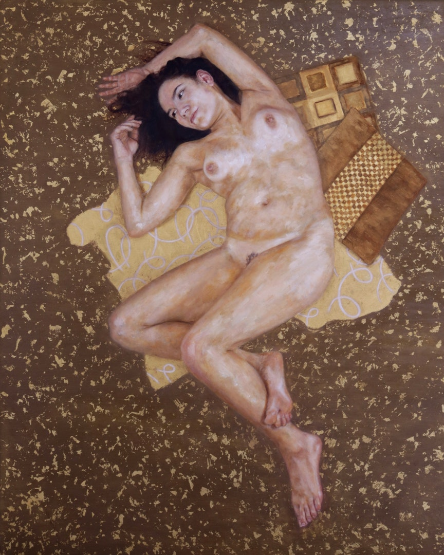 Liam Dunne  Nude  Oil and gold leaf on canvas, 150 x 120 x 3 cm  http://Www.liamdunneart.com