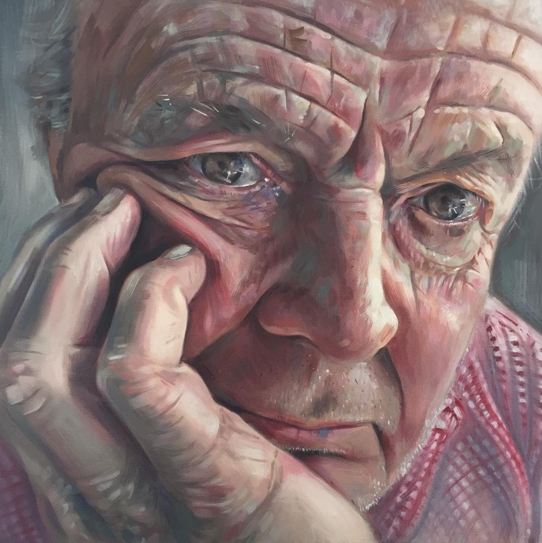 Libby Dillon  A portrait of my Dad  Oil on canvas, 60 x 60 x 4 cm  http://www.libbydillon.com