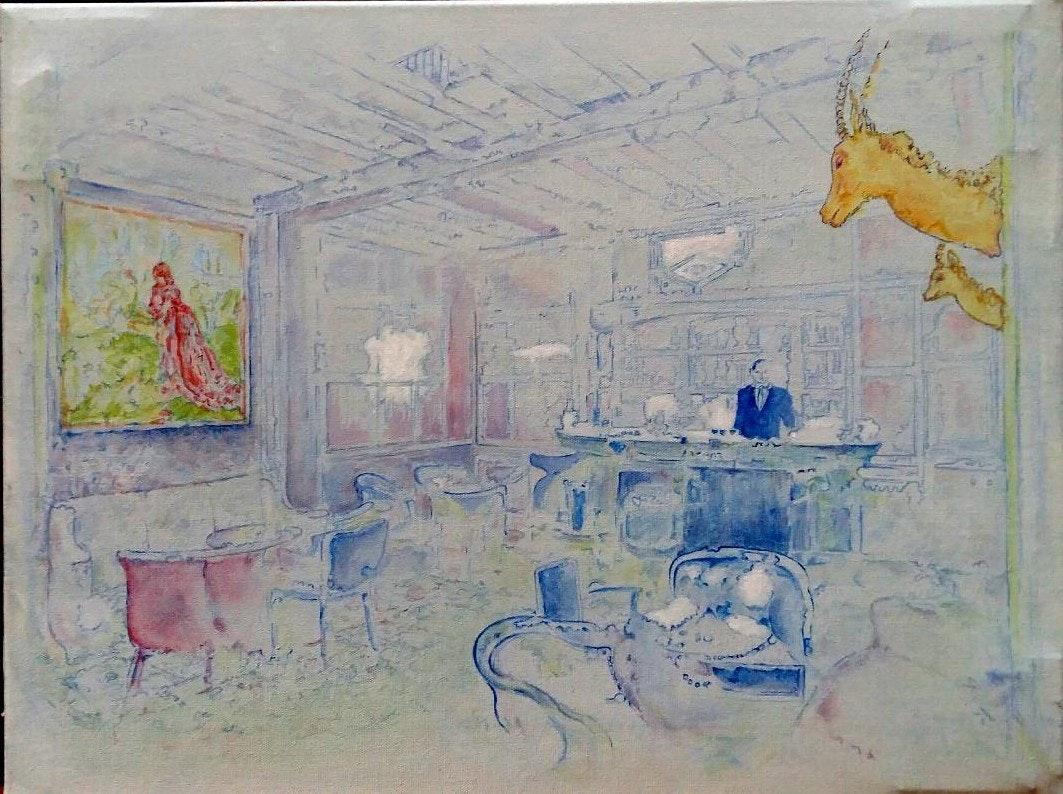Linda Black  Lounge  Oil on canvas, 46 x 61 cm