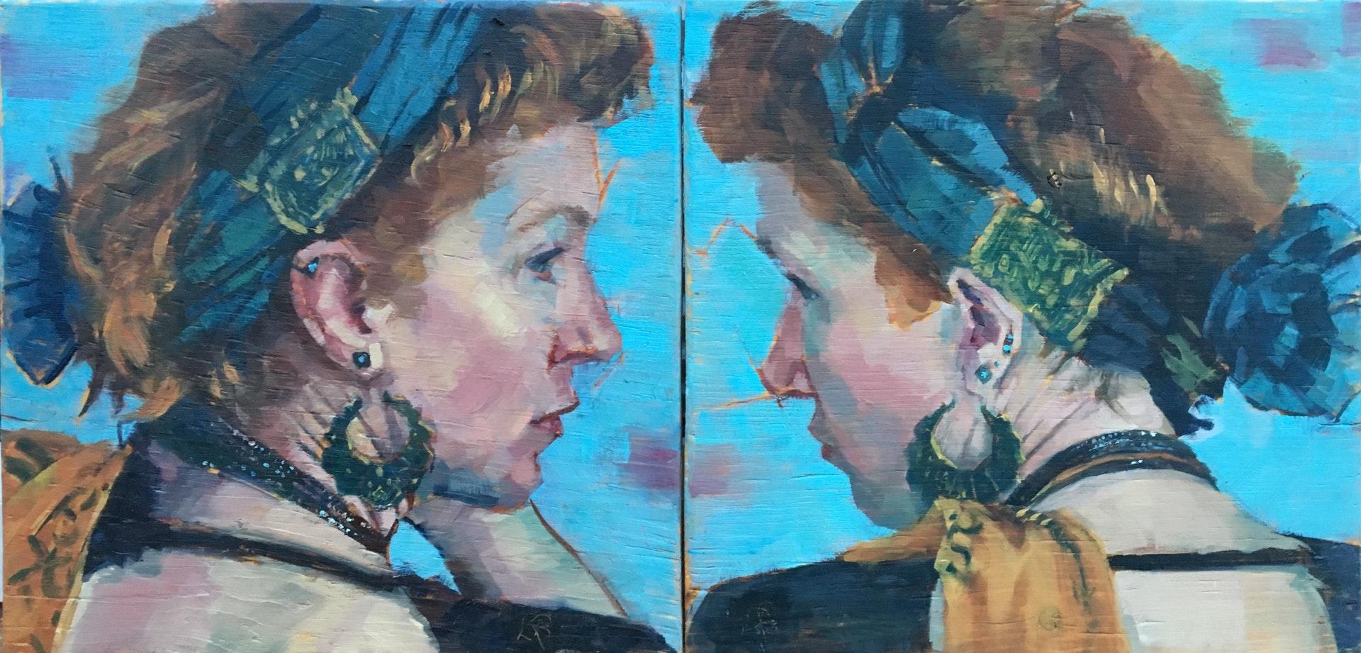 Lisa Puhlhofer  Duality (diptych)  Oil on board, 22.5 x 45 x 1 cm  http://lisaanpuhlhofer.net