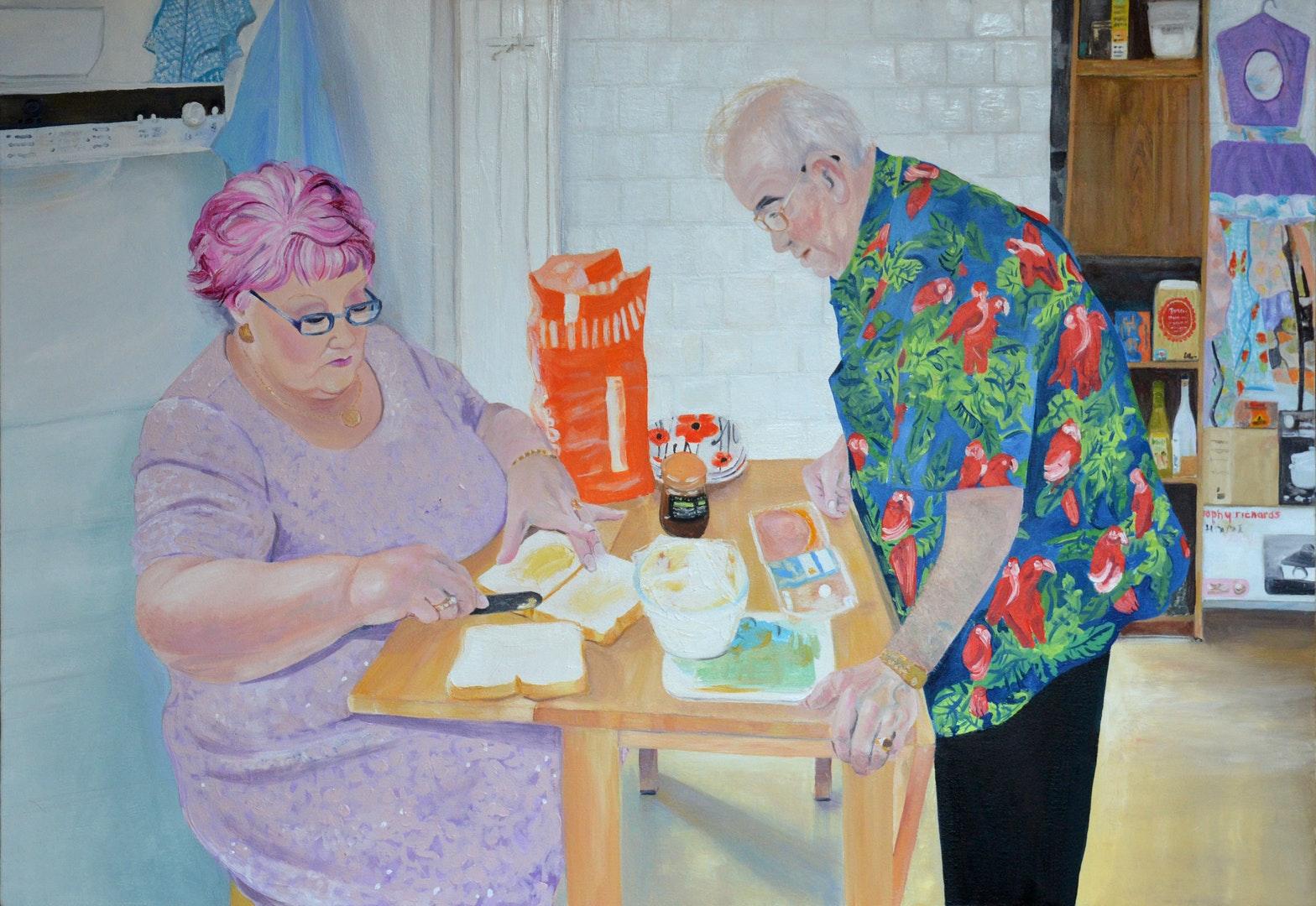 Louise Allen  Ron and Penny Jones  Oil on canvas, 90 x 60 cm  http://www.louise-allen.com/