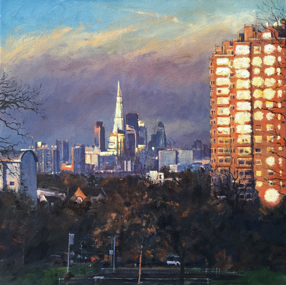 Mark McLaughlin  Falling light, City view from Brockwell Park  Oil on board, 40 x 50 cm  http://www.markmclaughlinartist.co.uk