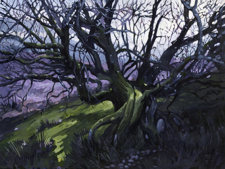 Martin Truefitt-Baker  Twisting Tree  Acrylic paint on linen., 46 x 61 cm  http://www.truefitt-baker.co.uk
