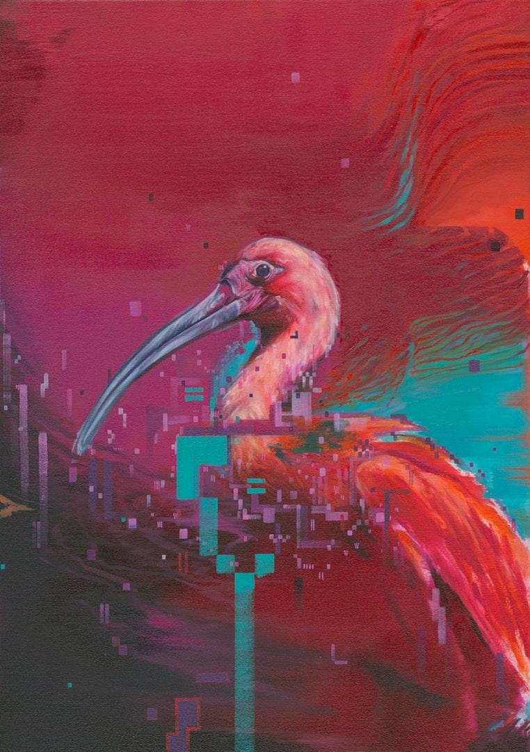 Matthieu leger  Ibis I  Oil on canvas over birch panel, 50 x 70 cm  http://www.matthieuleger.com