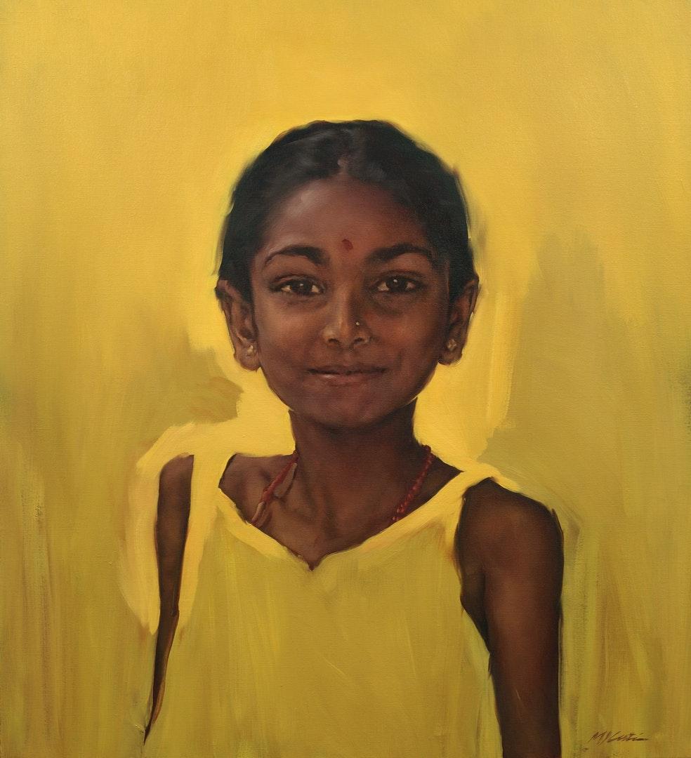 Michael Austin  Indian Girl  Oil, 112 x 100 cm  http://www.michaeljaustin.co.uk