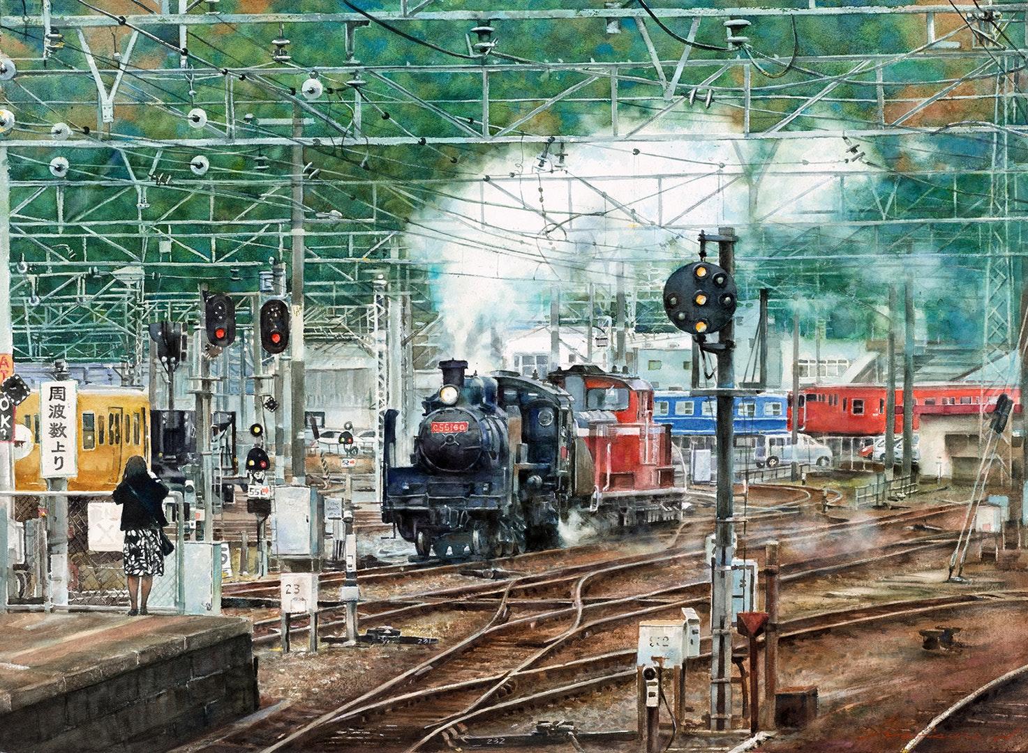 Misure Nien  Steam train station  Watercolor on paper, 56 x 79 cm  https://www.artblr.com/misurenien