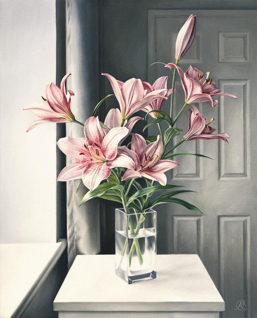 Natalia Beccher  Pink Lilies  Oil on canvas, 56 x 46 x 1.8 cm  http://nataliabeccherfineart.co.uk