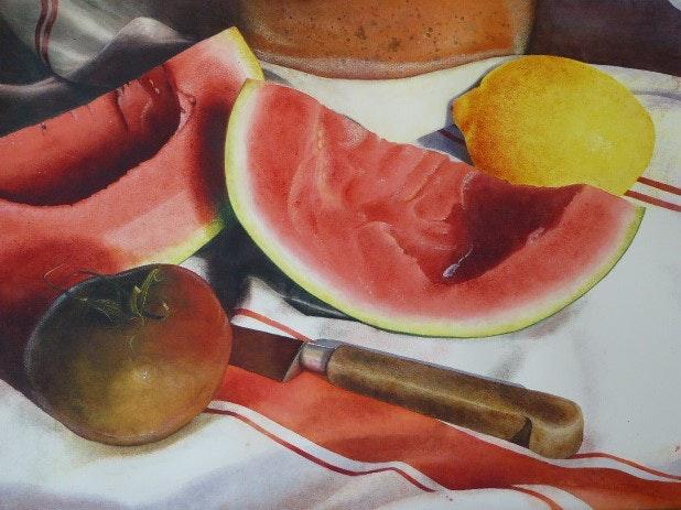 Norah Daykin  Melon Delight  Watercolour and pastel.56cm, 56 x 76 cm